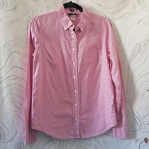J.Crew pink and white button down shirt size 6.